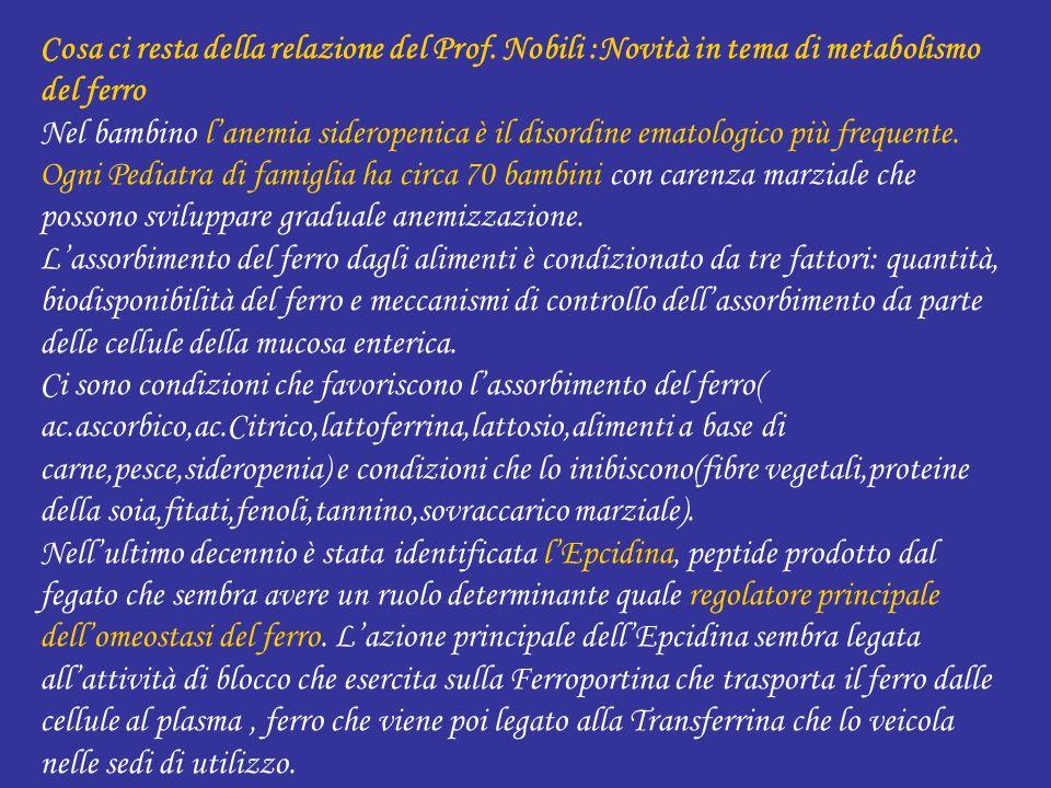 Cosa ci resta della relazione del Prof. Nobili :Novità in tema di metabolismo del ferro Nel bambino lanemia sideropenica è il disordine ematologico pi