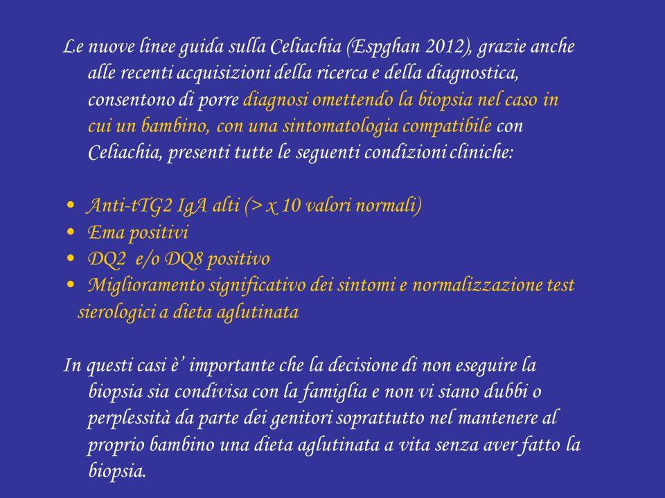 Le nuove linee guida sulla Celiachia (Espghan 2012), grazie anche alle recenti acquisizioni della ricerca e della diagnostica, consentono di porre dia