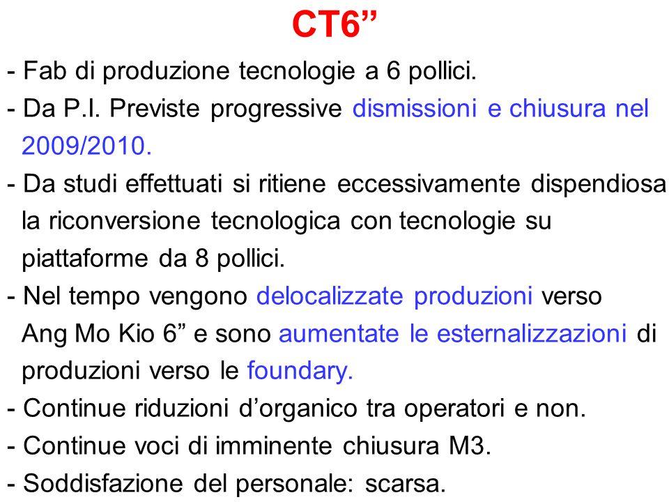 CT6 - Fab di produzione tecnologie a 6 pollici. - Da P.I. Previste progressive dismissioni e chiusura nel 2009/2010. - Da studi effettuati si ritiene