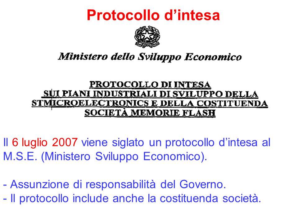 Protocollo dintesa Il 6 luglio 2007 viene siglato un protocollo dintesa al M.S.E. (Ministero Sviluppo Economico). - Assunzione di responsabilità del G