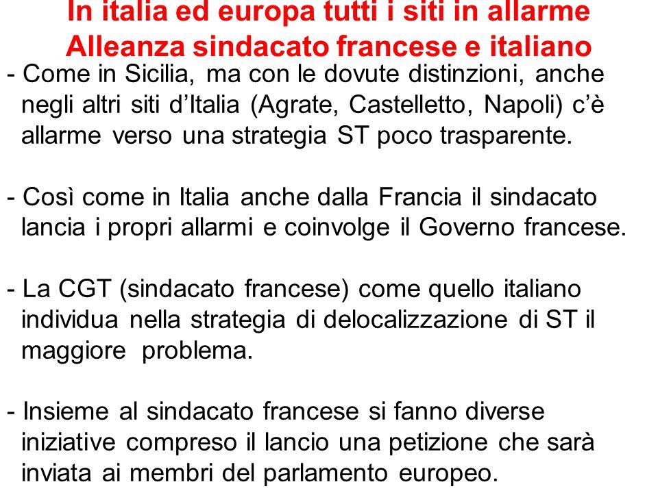 In italia ed europa tutti i siti in allarme Alleanza sindacato francese e italiano - Come in Sicilia, ma con le dovute distinzioni, anche negli altri