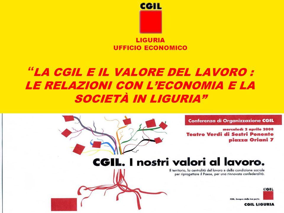 2 aprile 2008UFFICIO ECONOMICO CGIL LIGURIA 22 IL RADICAMENTO DELLO SPI-CGIL IN LIGURIA *Fonte : Elaborazione Ufficio Economico CGIL Liguria