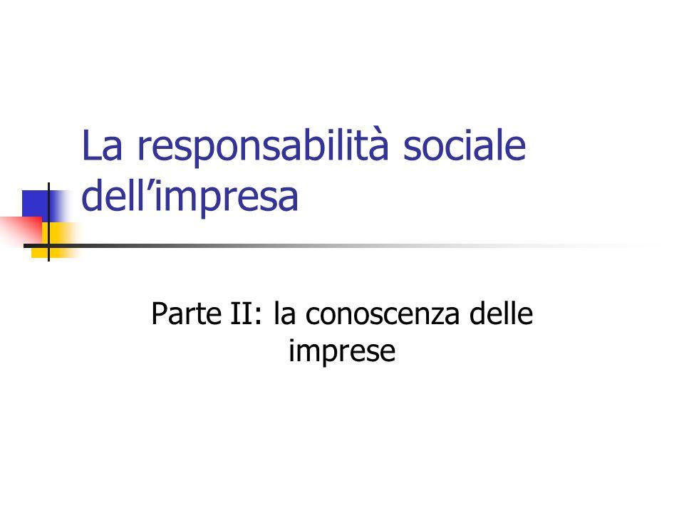 La responsabilità sociale dellimpresa Parte II: la conoscenza delle imprese
