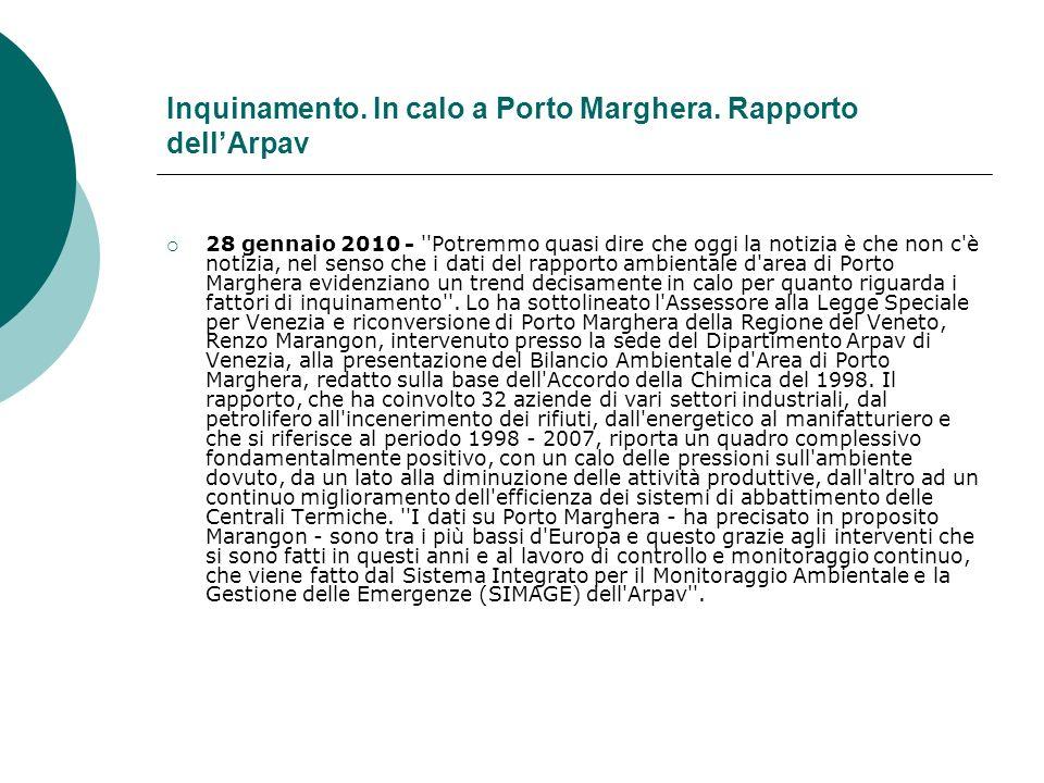 Inquinamento. In calo a Porto Marghera.