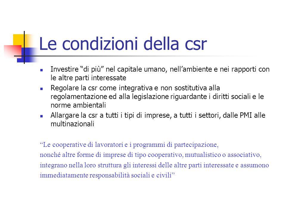 Le condizioni della csr Investire di più nel capitale umano, nellambiente e nei rapporti con le altre parti interessate Regolare la csr come integrati