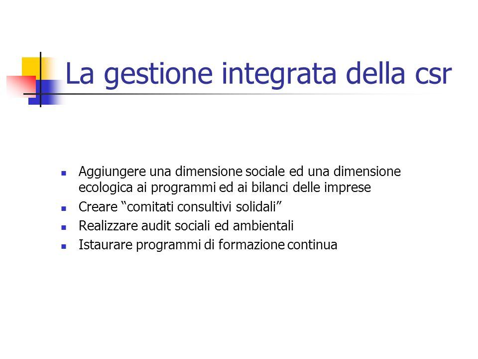 La gestione integrata della csr Aggiungere una dimensione sociale ed una dimensione ecologica ai programmi ed ai bilanci delle imprese Creare comitati