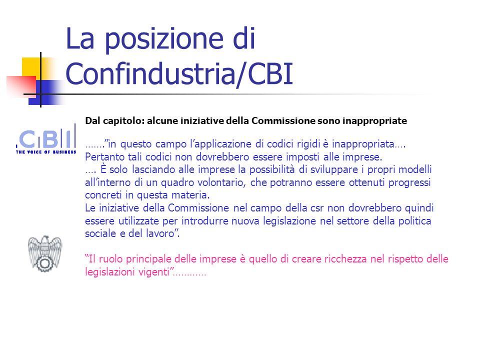 La posizione di Confindustria/CBI Dal capitolo: alcune iniziative della Commissione sono inappropriate …….in questo campo lapplicazione di codici rigi