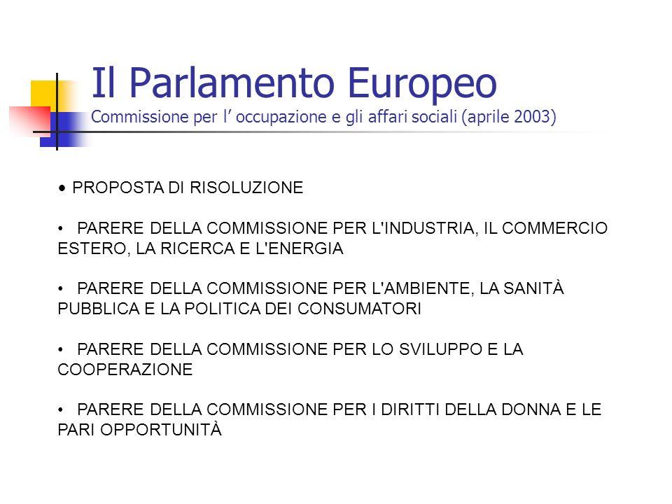 Il Parlamento Europeo Commissione per l occupazione e gli affari sociali (aprile 2003) PROPOSTA DI RISOLUZIONE PARERE DELLA COMMISSIONE PER L'INDUSTRI