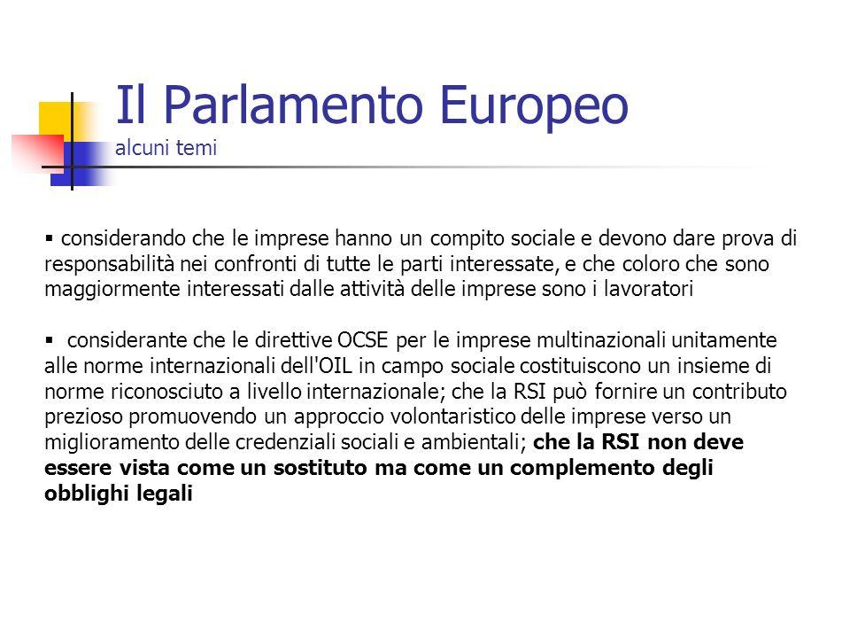 Il Parlamento Europeo alcuni temi considerando che le imprese hanno un compito sociale e devono dare prova di responsabilità nei confronti di tutte le