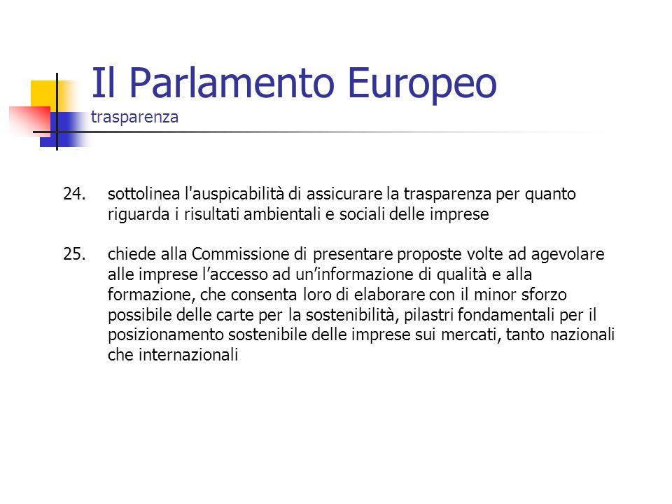 Il Parlamento Europeo trasparenza 24.sottolinea l'auspicabilità di assicurare la trasparenza per quanto riguarda i risultati ambientali e sociali dell