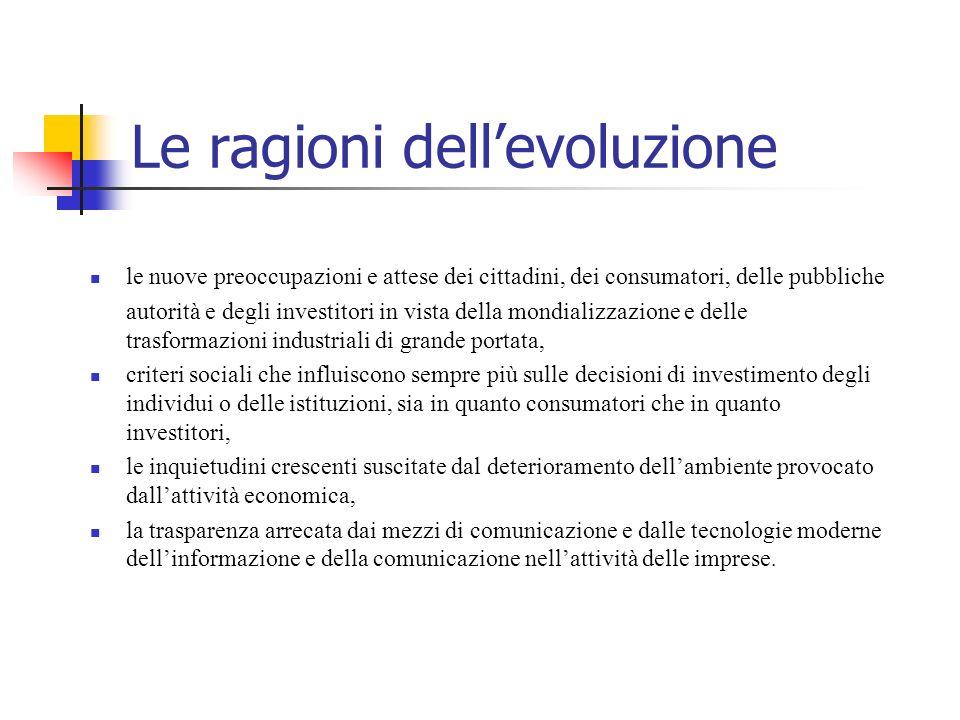 Le ragioni dellevoluzione le nuove preoccupazioni e attese dei cittadini, dei consumatori, delle pubbliche autorità e degli investitori in vista della