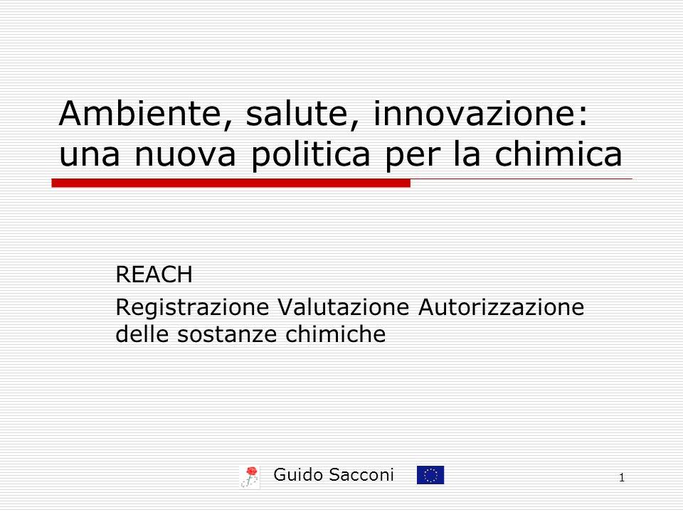 Guido Sacconi 1 Ambiente, salute, innovazione: una nuova politica per la chimica REACH Registrazione Valutazione Autorizzazione delle sostanze chimiche