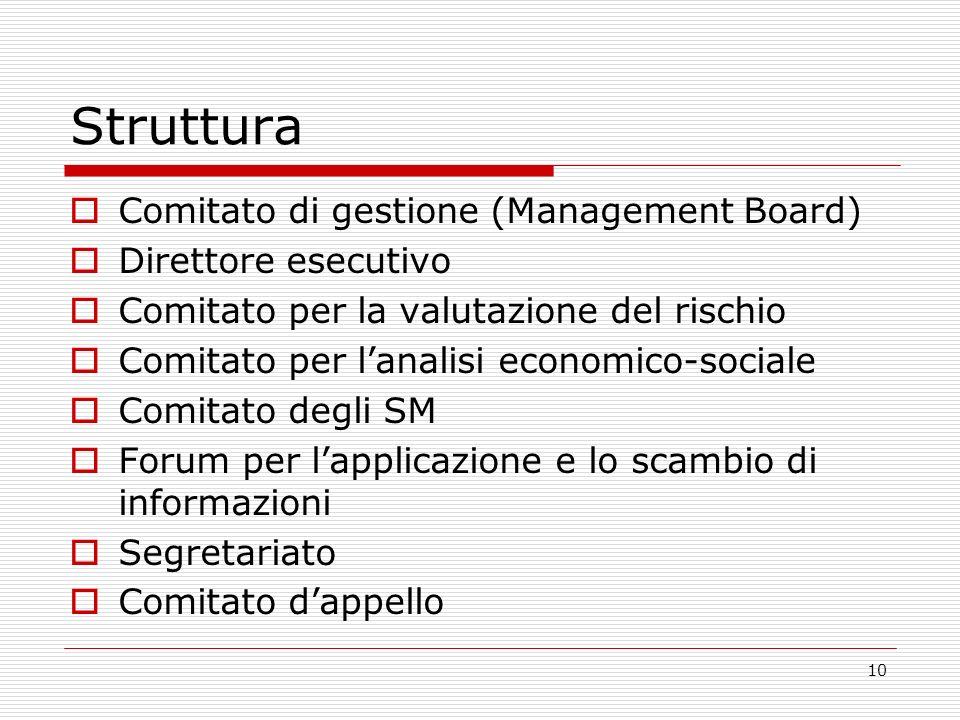 10 Struttura Comitato di gestione (Management Board) Direttore esecutivo Comitato per la valutazione del rischio Comitato per lanalisi economico-sociale Comitato degli SM Forum per lapplicazione e lo scambio di informazioni Segretariato Comitato dappello