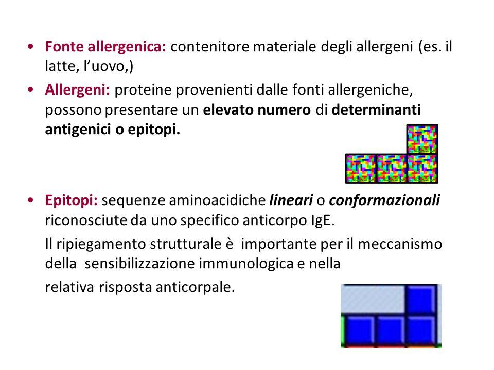 Fonte allergenica: contenitore materiale degli allergeni (es. il latte, luovo,) Allergeni: proteine provenienti dalle fonti allergeniche, possono pres