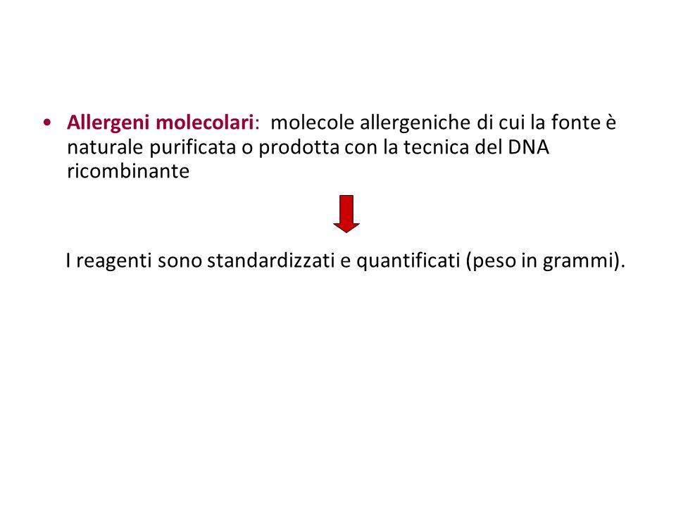 Allergeni molecolari: molecole allergeniche di cui la fonte è naturale purificata o prodotta con la tecnica del DNA ricombinante I reagenti sono stand
