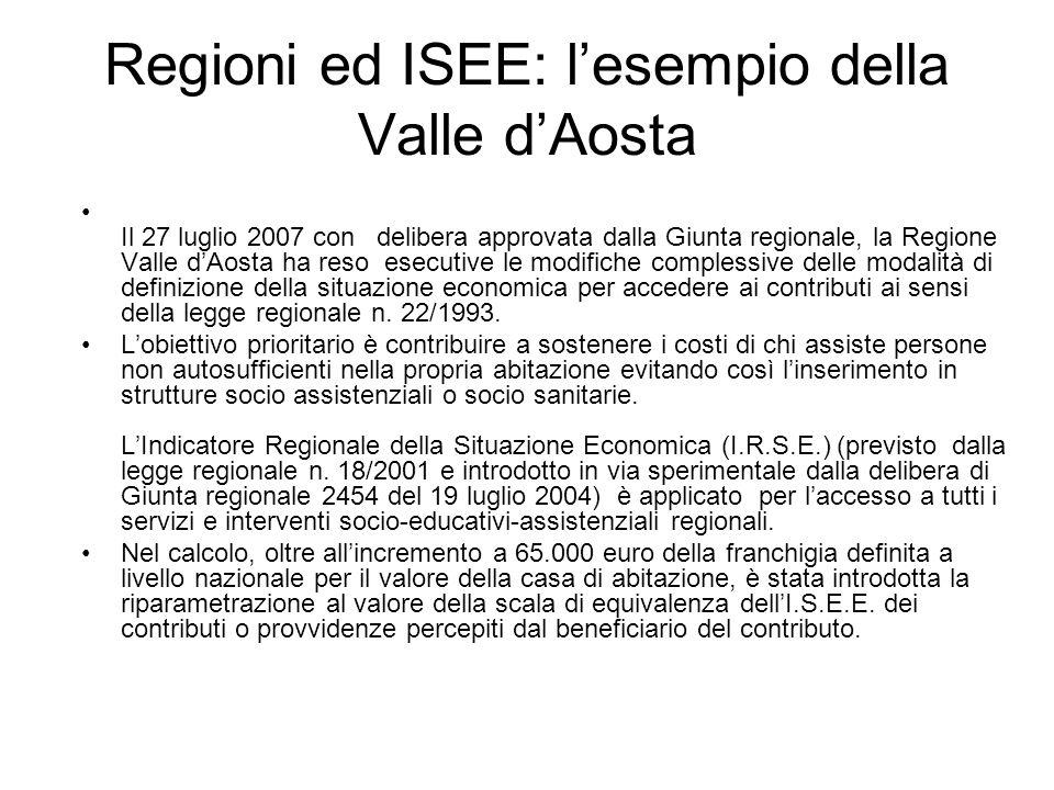 Regioni ed ISEE: lesempio della Valle dAosta Il 27 luglio 2007 con delibera approvata dalla Giunta regionale, la Regione Valle dAosta ha reso esecutiv