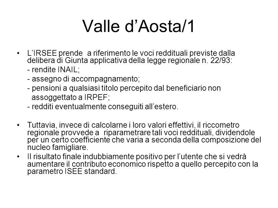 Valle dAosta/1 LIRSEE prende a riferimento le voci reddituali previste dalla delibera di Giunta applicativa della legge regionale n. 22/93: - rendite