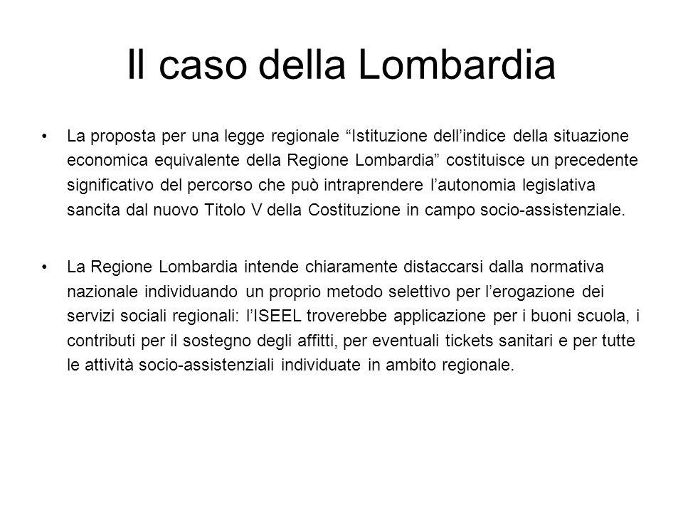 Il caso della Lombardia La proposta per una legge regionale Istituzione dellindice della situazione economica equivalente della Regione Lombardia cost