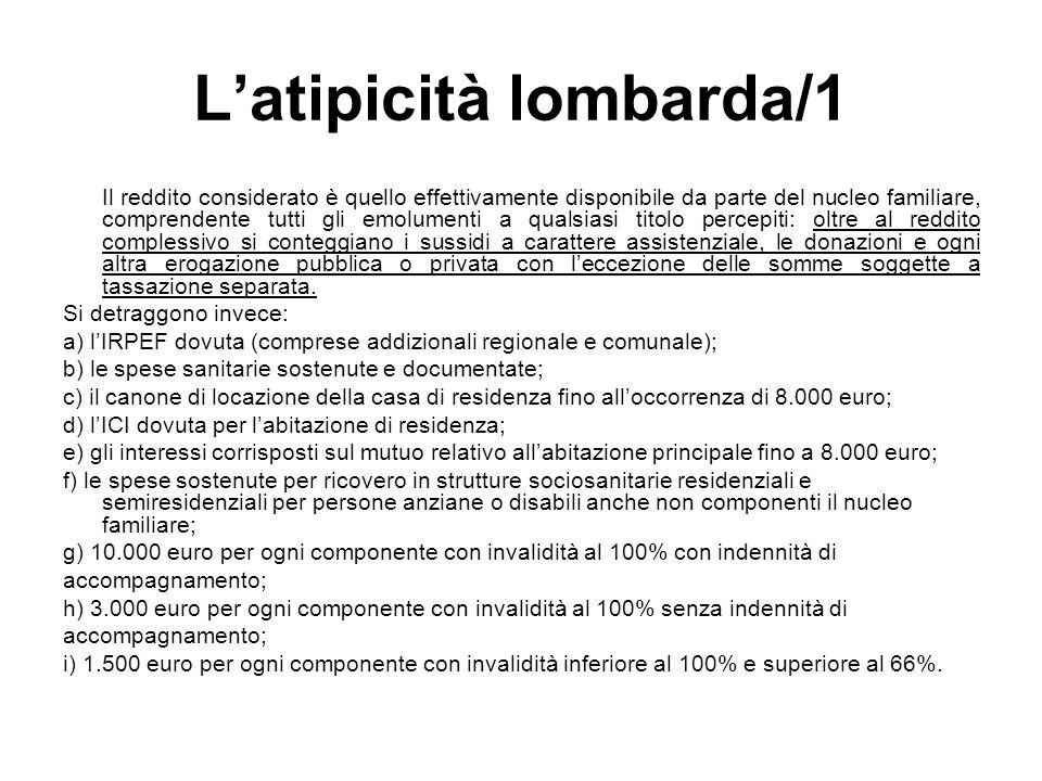 Latipicità lombarda/1 Il reddito considerato è quello effettivamente disponibile da parte del nucleo familiare, comprendente tutti gli emolumenti a qu