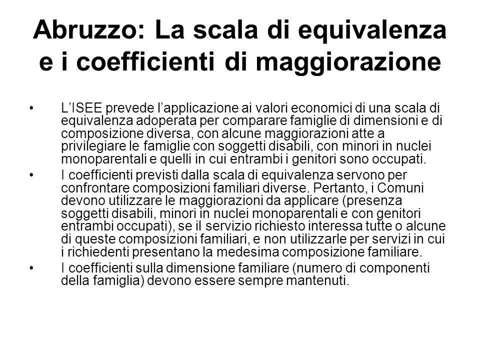 Abruzzo: La scala di equivalenza e i coefficienti di maggiorazione LISEE prevede lapplicazione ai valori economici di una scala di equivalenza adopera