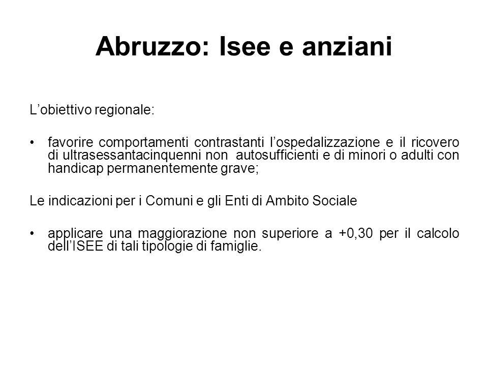 Abruzzo: Isee e anziani Lobiettivo regionale: favorire comportamenti contrastanti lospedalizzazione e il ricovero di ultrasessantacinquenni non autosu