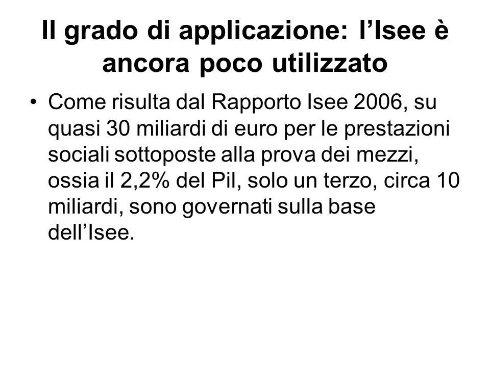 Il grado di applicazione: lIsee è ancora poco utilizzato Come risulta dal Rapporto Isee 2006, su quasi 30 miliardi di euro per le prestazioni sociali sottoposte alla prova dei mezzi, ossia il 2,2% del Pil, solo un terzo, circa 10 miliardi, sono governati sulla base dellIsee.