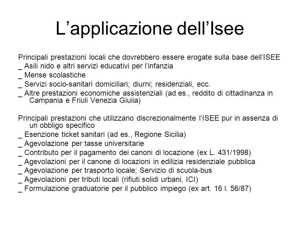 Lapplicazione dellIsee Principali prestazioni locali che dovrebbero essere erogate sulla base dellISEE _ Asili nido e altri servizi educativi per linf