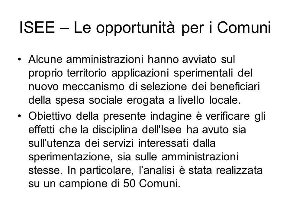 ISEE – Le opportunità per i Comuni Alcune amministrazioni hanno avviato sul proprio territorio applicazioni sperimentali del nuovo meccanismo di selezione dei beneficiari della spesa sociale erogata a livello locale.