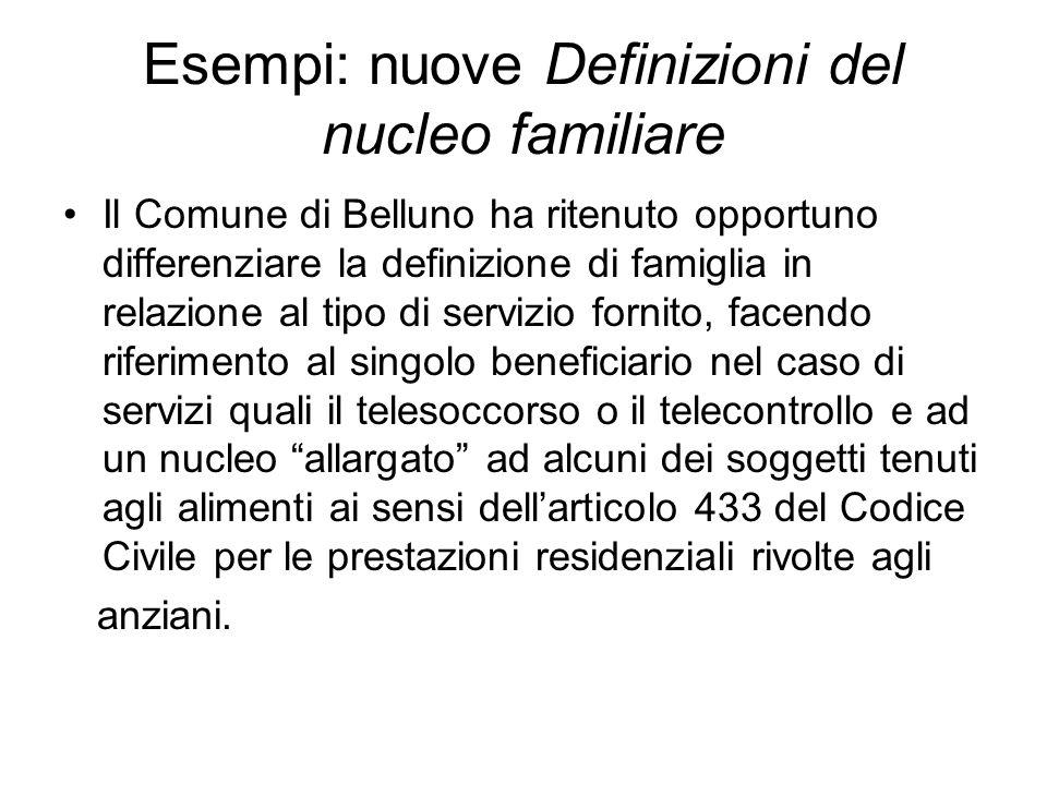 Esempi: nuove Definizioni del nucleo familiare Il Comune di Belluno ha ritenuto opportuno differenziare la definizione di famiglia in relazione al tip