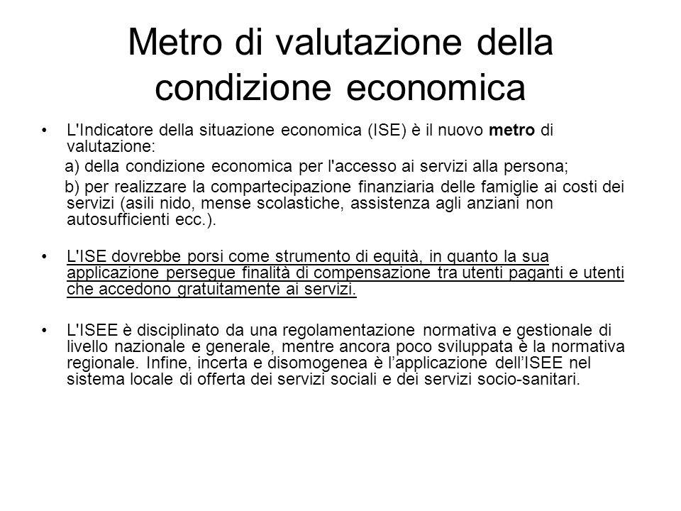 Metro di valutazione della condizione economica L'Indicatore della situazione economica (ISE) è il nuovo metro di valutazione: a) della condizione eco