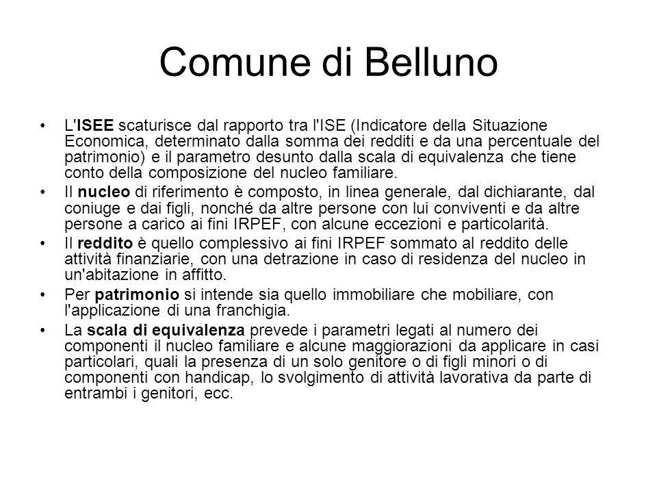 Comune di Belluno L'ISEE scaturisce dal rapporto tra l'ISE (Indicatore della Situazione Economica, determinato dalla somma dei redditi e da una percen