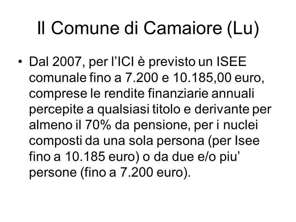 Il Comune di Camaiore (Lu) Dal 2007, per lICI è previsto un ISEE comunale fino a 7.200 e 10.185,00 euro, comprese le rendite finanziarie annuali perce