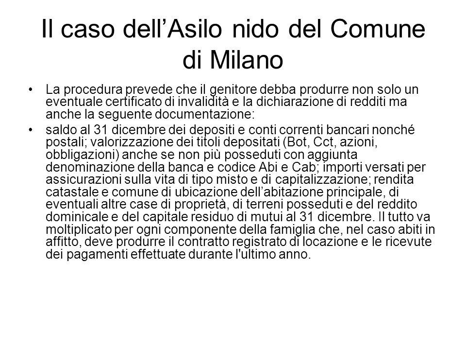 Il caso dellAsilo nido del Comune di Milano La procedura prevede che il genitore debba produrre non solo un eventuale certificato di invalidità e la d