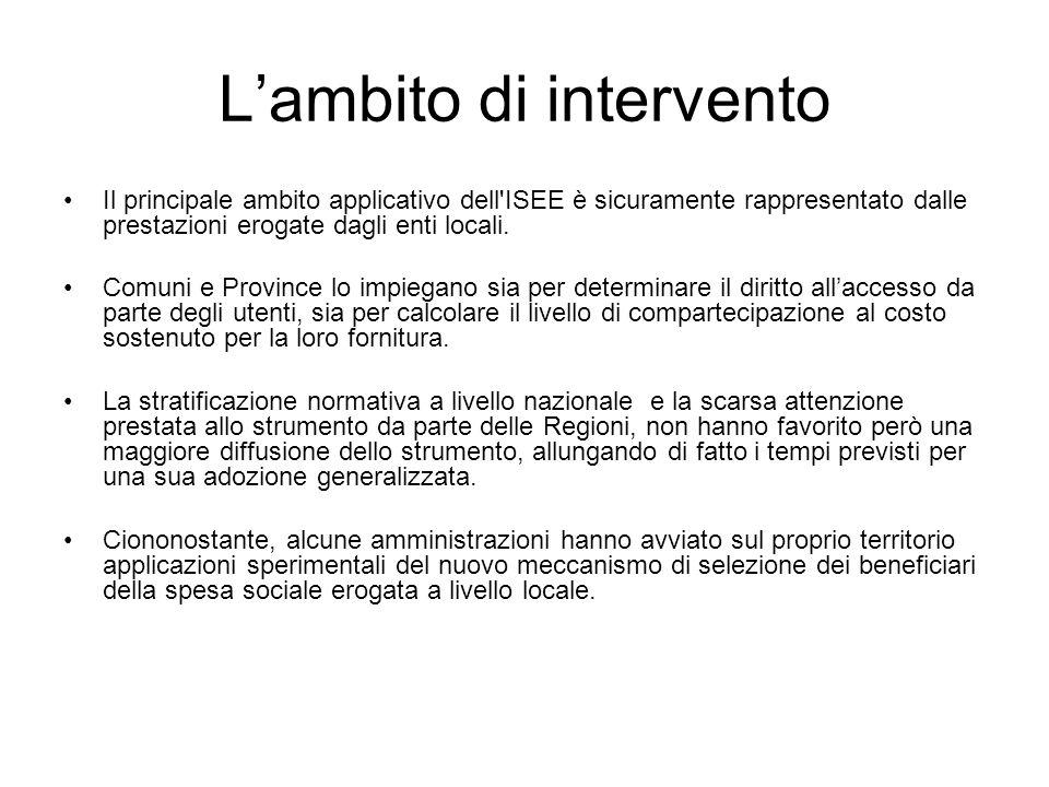 Lambito di intervento Il principale ambito applicativo dell'ISEE è sicuramente rappresentato dalle prestazioni erogate dagli enti locali. Comuni e Pro