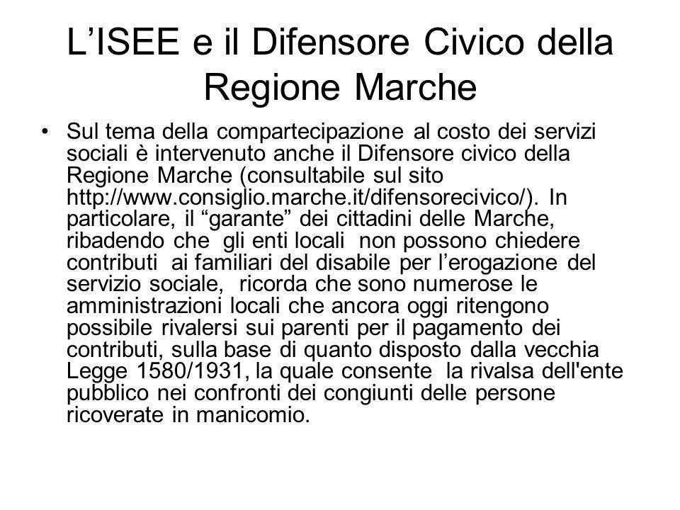 LISEE e il Difensore Civico della Regione Marche Sul tema della compartecipazione al costo dei servizi sociali è intervenuto anche il Difensore civico