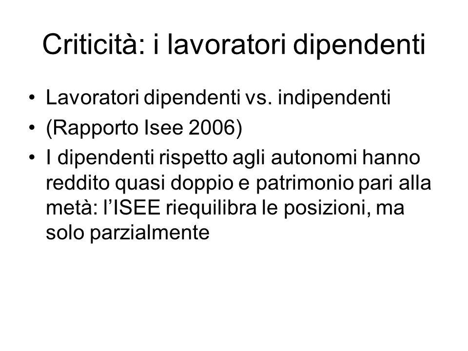 Criticità: i lavoratori dipendenti Lavoratori dipendenti vs. indipendenti (Rapporto Isee 2006) I dipendenti rispetto agli autonomi hanno reddito quasi