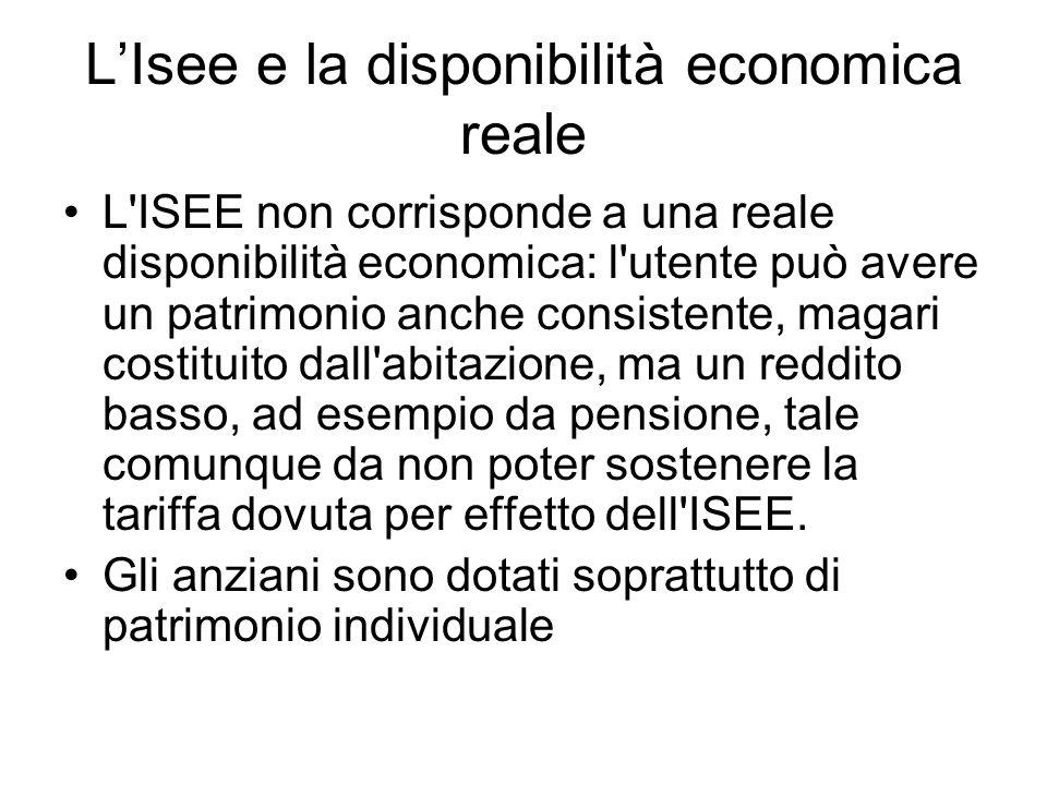 LIsee e la disponibilità economica reale L'ISEE non corrisponde a una reale disponibilità economica: l'utente può avere un patrimonio anche consistent