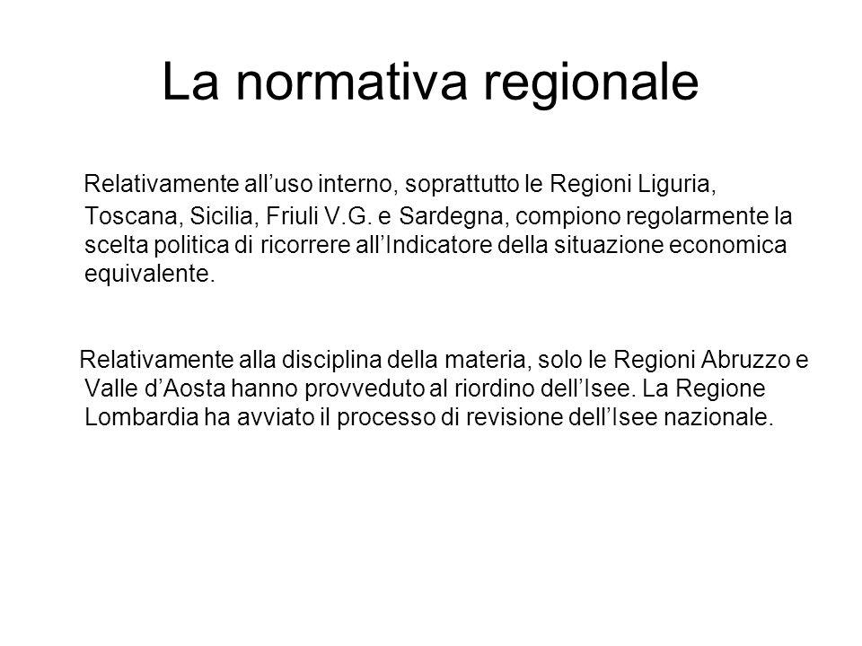 Regioni e Isee Inizialmente, solo alcune Regioni, come la Liguria, la Toscana, la Sicilia, il Friuli V.G.