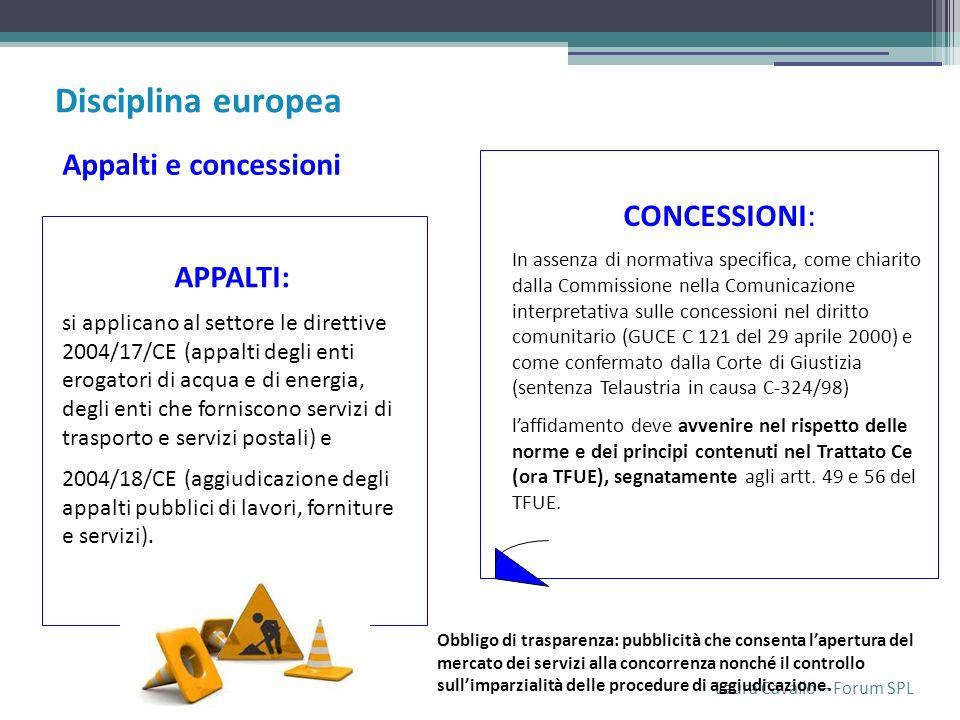 Laura Cavallo – Forum SPL APPALTI: si applicano al settore le direttive 2004/17/CE (appalti degli enti erogatori di acqua e di energia, degli enti che forniscono servizi di trasporto e servizi postali) e 2004/18/CE (aggiudicazione degli appalti pubblici di lavori, forniture e servizi).