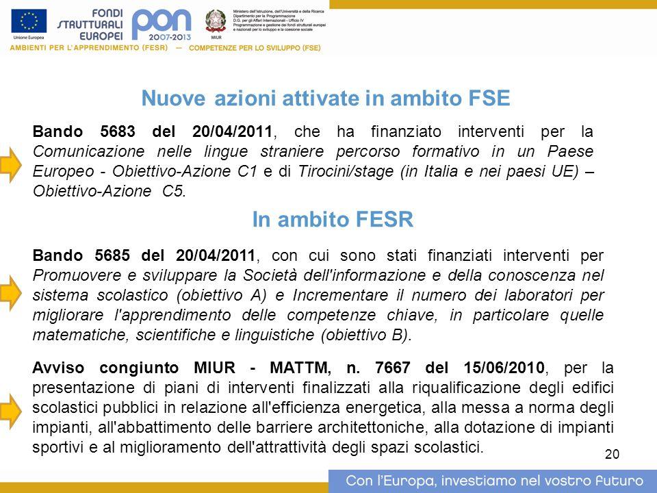 20 Nuove azioni attivate in ambito FSE Bando 5683 del 20/04/2011, che ha finanziato interventi per la Comunicazione nelle lingue straniere percorso formativo in un Paese Europeo - Obiettivo-Azione C1 e di Tirocini/stage (in Italia e nei paesi UE) – Obiettivo-Azione C5.