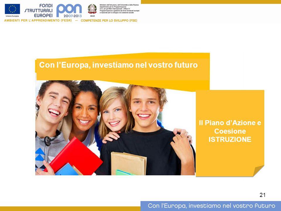 21 Il Piano dAzione e Coesione ISTRUZIONE Il Piano dAzione e Coesione ISTRUZIONE Con lEuropa, investiamo nel vostro futuro