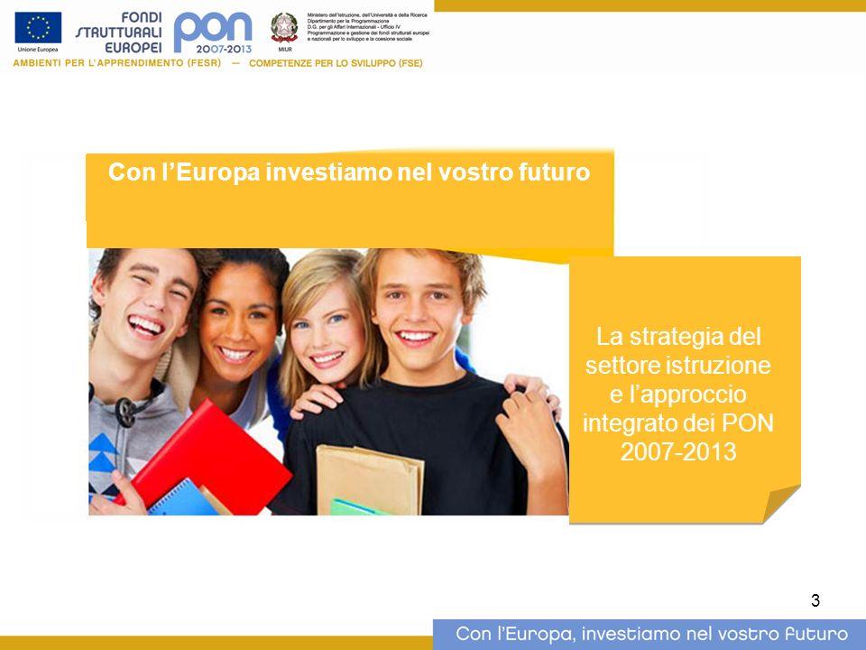 3 La strategia del settore istruzione e lapproccio integrato dei PON 2007-2013 Con lEuropa investiamo nel vostro futuro