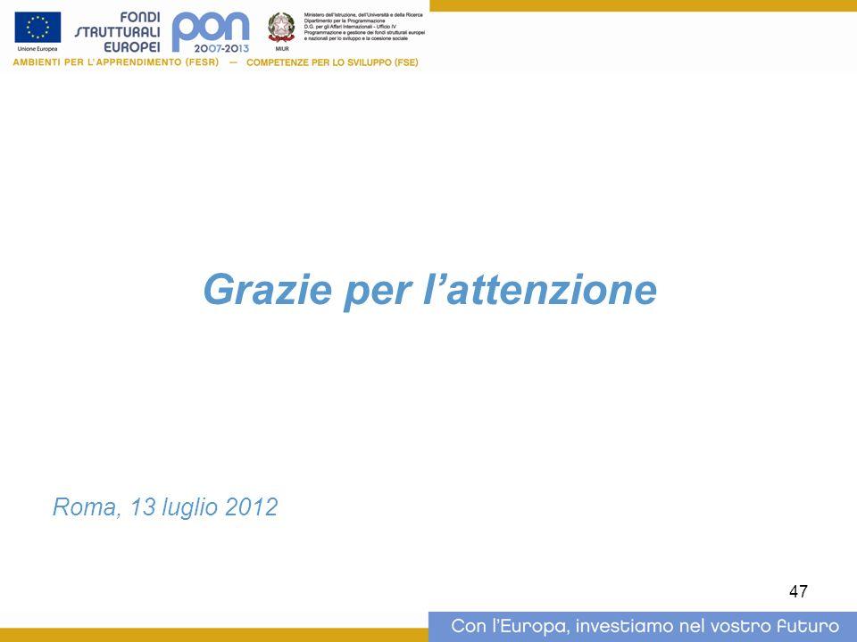 Grazie per lattenzione Roma, 13 luglio 2012 47