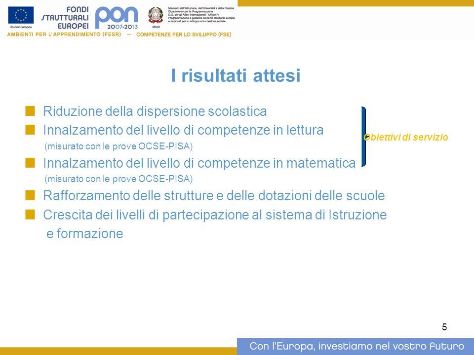 5 I risultati attesi Riduzione della dispersione scolastica Innalzamento del livello di competenze in lettura (misurato con le prove OCSE-PISA) Innalzamento del livello di competenze in matematica (misurato con le prove OCSE-PISA) Rafforzamento delle strutture e delle dotazioni delle scuole Crescita dei livelli di partecipazione al sistema di Istruzione e formazione Obiettivi di servizio