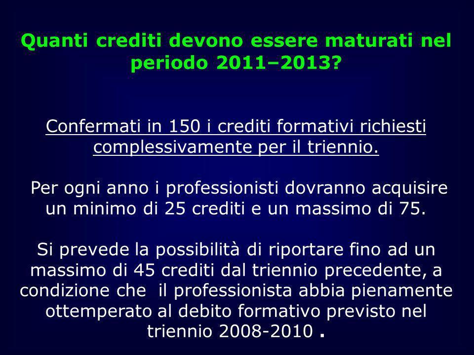 Quanti crediti devono essere maturati nel periodo 2011–2013? Confermati in 150 i crediti formativi richiesti complessivamente per il triennio. Per ogn