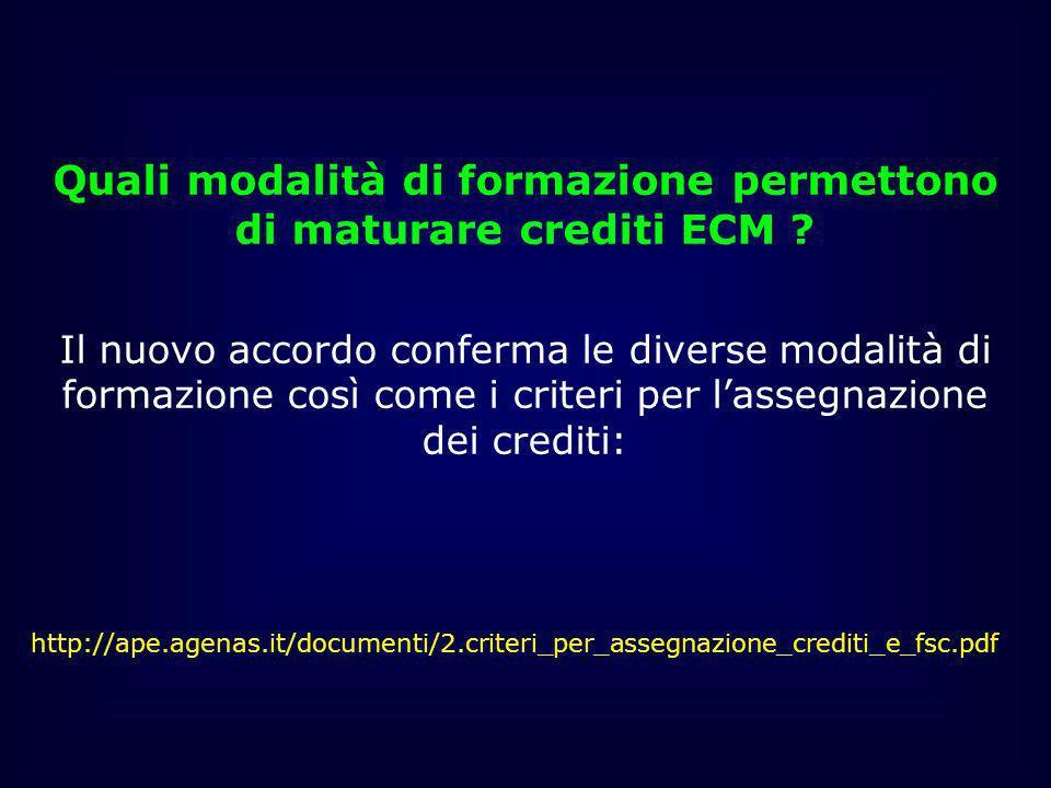 Quali modalità di formazione permettono di maturare crediti ECM ? Il nuovo accordo conferma le diverse modalità di formazione così come i criteri per