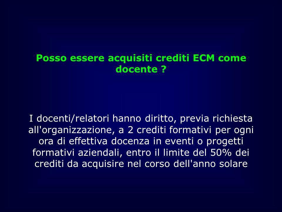 Posso essere acquisiti crediti ECM come docente ? I docenti/relatori hanno diritto, previa richiesta all'organizzazione, a 2 crediti formativi per ogn