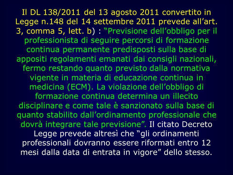 Il DL 138/2011 del 13 agosto 2011 convertito in Legge n.148 del 14 settembre 2011 prevede allart. 3, comma 5, lett. b) : Previsione dellobbligo per il