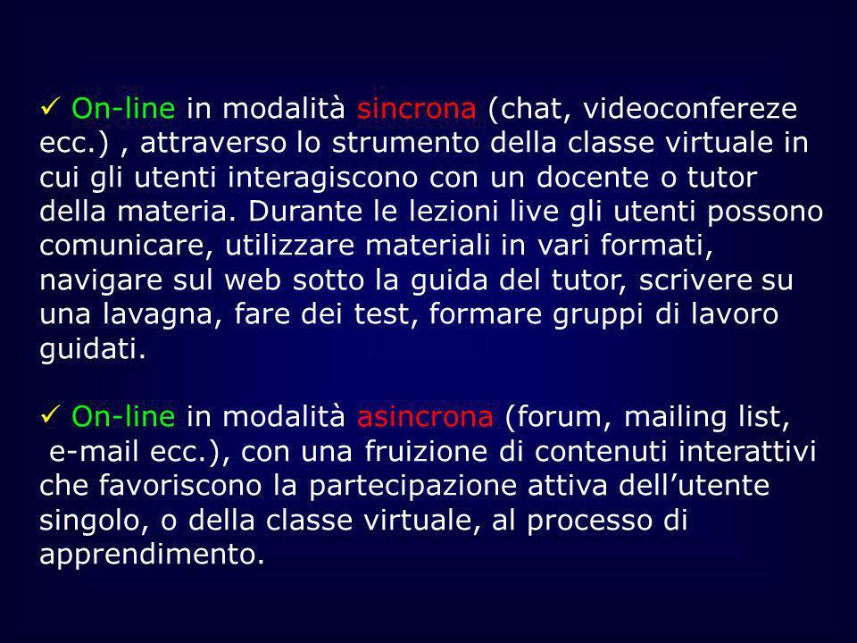 On-line in modalità sincrona (chat, videoconfereze ecc.), attraverso lo strumento della classe virtuale in cui gli utenti interagiscono con un docente
