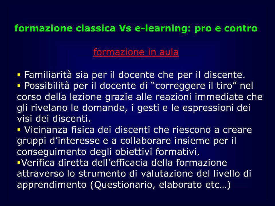 formazione classica Vs e-learning: pro e contro formazione in aula Familiarità sia per il docente che per il discente. Possibilità per il docente di c